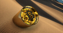 Bitcoin In The Desert Sticking Out Of The Dune, 4k Image 300ppi,
