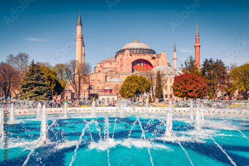 Fotografiet Wonderful spring view of Sultan Ahmet park in Istanbul, Turkey, Europe