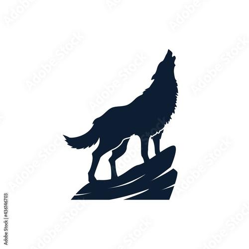 Obraz na płótnie blue wolf silhouette logo