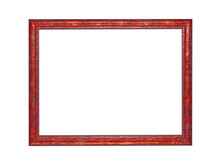 Wooden Red Frame For Paintings. Isolated On White