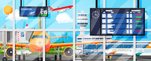 Plane Before Takeoff. Airport Control Tower, Jetway, Terminal Building And Parking Area. International Airport Concept. Cityscape, Airplane In Sky With Clouds And Sun. Flat Vector Illustration