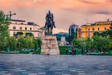 Monument Of Skanderbeg In Scanderbeg Square. Colrful Spring Sunset In The Capital Of Albania - Tirana.