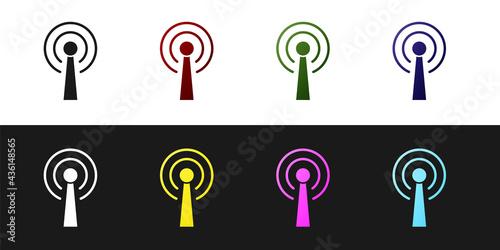 Set Antenna icon isolated on black and white background Fototapet