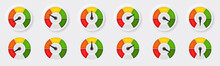 A Set Of Buttons With A Speedometer Or Tachometer. Symbol With A Scale Of Performance Measurement From Red To Green. Speed Sign For Applications, Web Sites And Other Internet Resources. Vector Element