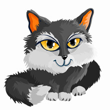 Black White Little Cute Citten. Big Yellow Eyes. Cartoon Character. Classic Handmate Vector Illustration. Isolated. Cat For Animation