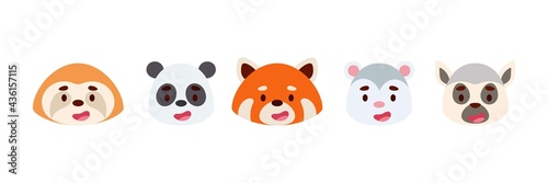 Fototapeta premium Cute little jungle animals heads set. Collection funny animals characters for kids cards, baby shower, birthday invitation, house interior. Bright colored childish vector illustration.