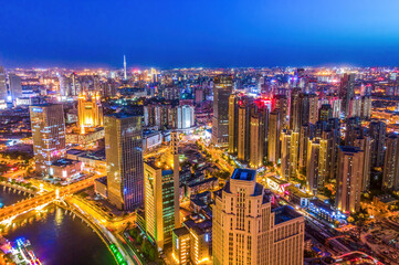 Aerial photography of skyline night scene of Tianjin urban architectural landscape