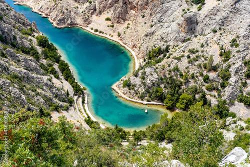 Canvas Print High angle view of steep rocky sea coast and amazing bay in Zavratnica cove natu