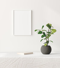 Mock Up Poster Frame In Interior Background With Decor On Table, 3d Render