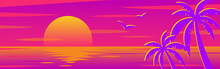 Vector Background With Sunset On The Beach With Palms For Banners, Cards, Flyers, Social Media Wallpapers, Etc.