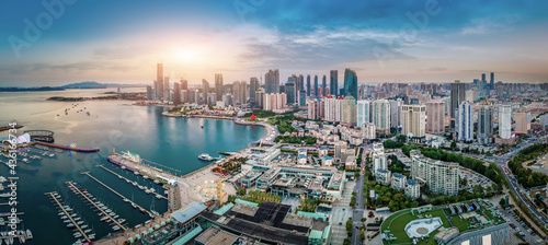 Canvas Aerial photography of architectural landscape skyline along Qingdao urban coastl