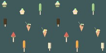 Seamless Pattern With Ice Creams On Green Background. For Textile, Book Cover, Print, Wallpaper, Wrapping Paper, Packaging. Vector Pattern.
