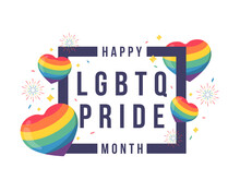 Happy LGBTQ Pride Month Text In Frame With Around Rainbow Hearts, Firework And Party Ribbon Vector Design