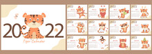 Calendar Template For 2022. Set Of 12 Pages And A Cover With A Cute Orange Tiger In English. Week Starts On Monday. Year Of The Tiger According To The Chinese Or Eastern Calendar. Vector Illustration