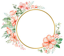 Watercolor Pink Flowers And Green Leaves Frame Illustration