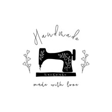 Handmade Logo. Label For Clothes, Tag For Fabric, Stamp For Clothing Packaging, Sewing Machine Icon