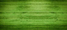 Abstract Grunge Old Neon Green Painted Wooden Texture - Wood Board Background Panorama Banner.