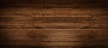 Old Brown Rustic Dark Grunge Wooden Timber Texture - Wood Background Banner.