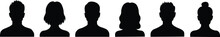 Vector Silhouettes Of Men And Women, A Group Of People, Black Color Isolated On A White Background. Male And Female Silhouettes Icon.