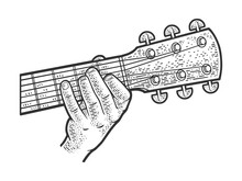 Playing Guitar Chord Line Art Sketch Engraving Vector Illustration. T-shirt Apparel Print Design. Scratch Board Imitation. Black And White Hand Drawn Image.