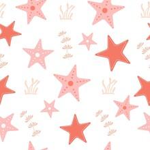 Childish Seamless Pattern With Starfish