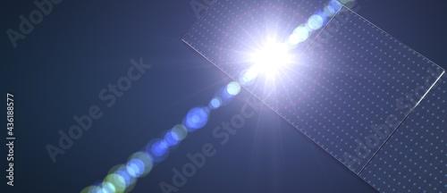 Fotografiet Power using renewable solar energy with sun.3d