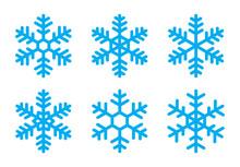 Blue Snowflakes Icons Set, Flat Design, Vector Illustration