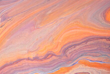 Abstract Fluid Art Background Light Orange And Purple Colors. Liquid Marble. Acrylic Painting With Coral Gradient.