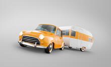 Retro Car With White Trailer. Unusual 3d Illustration Of A Classic Caravan.
