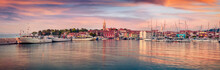 Panoramic Evening Cityscape Of Old Fishing Town Isola. Amazing Spring Seascape Of Adriatic Sea. Beautiful Outdoor Scene Of Slovenia, Europe. Traveling Concept Background.