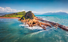 Splendid Spring View From Flying Drone Of Dalan And Voge Hiking Area. Colorful Seascape Of Adriatic Sea. Majestic Morning Scene Of Albania, Europe. Beauty Of Nature Concept Background.