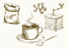 Coffee Beans, Cup Of Coffee, Grinder. Set Of Hand Drawn Vector Illustration.
