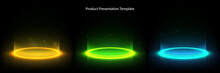 Glow Neon Circle. Glowing Ring On Floor. Abstract Hi-tech Background For Display Product. Vector Template.