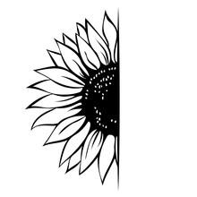 Sunflower Monogram Template, Half Sunflower, Hand Drawn Vector Illustration