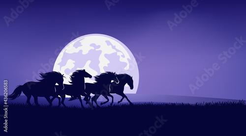 Canvas Print wild mustangs running in night prairie against full moon - horse herd silhouette