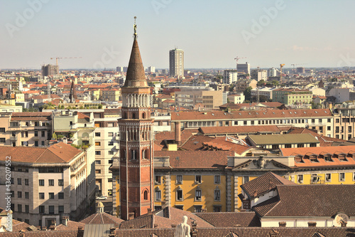 Obraz na plátně Aerial view of Milan from the Duomo roof, Italy