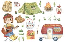 Watercolor Set Of Illustrations About Camping. Hand-drawn Watercolor Clip Art. Cute Girl With Guitar, Trailer, Tent, Bonfire, Mug, Teapot, Sweater, Socks, Backpack, Red Lantern And Marshmallow.