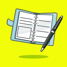 Journal And Pen Cartoon Icon. Vector Illustration