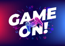 Game On, Neon Game Controller Or Joystick For Game Console On Blue Background.