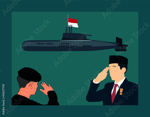Canvas Print Flat Vector Of President And Soldier Give a Pray And Honor For The Army Commande