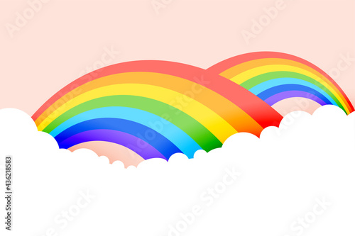 Fotografie, Obraz rainbow background with clouds in pastel colors