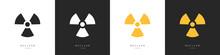 Set Of Nuclear Icons. Radiation Hazard Warning. Propeller Marks Symbolizing Radioactive Contamination. Vector Illustration