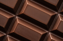 Dark Bitter Chocolate In Cubes Shape, Close-up, Top View.