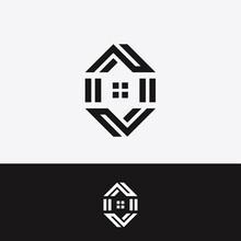 Letter C House Hexagon Ambigram Vector Design Illustration