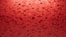 3D, Futuristic Wall Background With Tiles. Polished, Tile Wallpaper With Hexagonal, Red Blocks. 3D Render