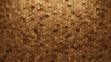 Timber, Natural Wall Background With Tiles. Hexagonal, Tile Wallpaper With 3D, Wood Blocks. 3D Render