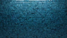 Textured, Square Wall Background With Tiles. Blue Patina, Tile Wallpaper With 3D, Polished Blocks. 3D Render