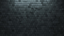 Square, Concrete Wall Background With Tiles. 3D, Tile Wallpaper With Polished, Futuristic Blocks. 3D Render