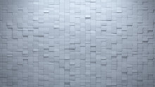 Rectangular, White Wall Background With Tiles. Futuristic, Tile Wallpaper With Polished, 3D Blocks. 3D Render