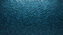Textured, 3D Wall Background With Tiles. Herringbone, Tile Wallpaper With Polished, Blue Patina Blocks. 3D Render